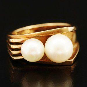 Mikimoto 18K / 2 Large Akoya Japanese Pearls Ring